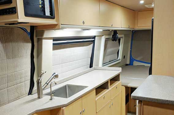 Conversion van features custom interior.