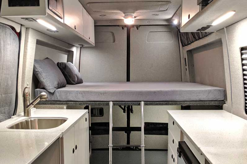 Platform bed in Sprinter van conversion